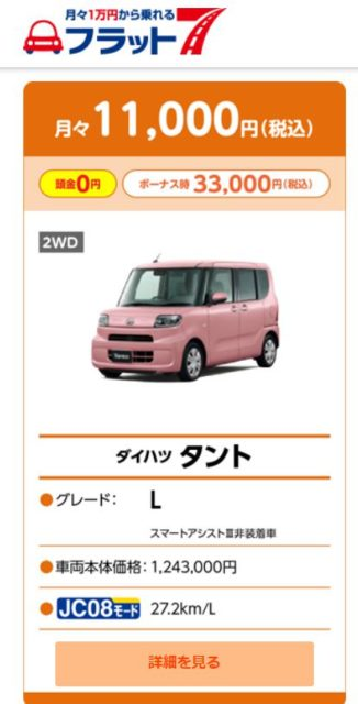 カーリース1万円